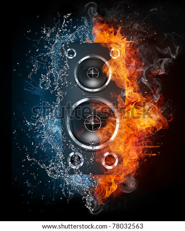 Speaker in fire and water. Illustration of the speaker enveloped in elements isolated on black background. High resolution speaker in fire and water image for a rock and roll concert poster.
