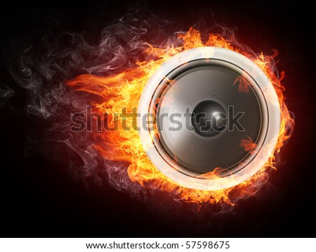 Speaker in fire flames isolated on black background.