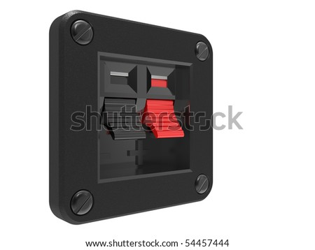 Speaker Input socket red and black on a white background