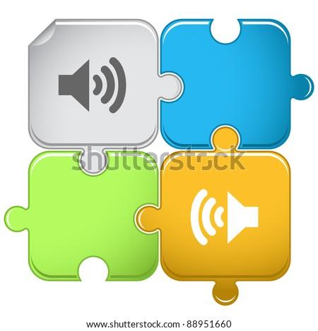 speaker raster puzzle vector