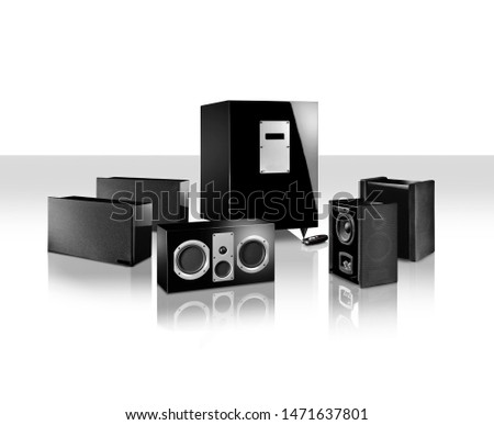 speakers and stereo on white background