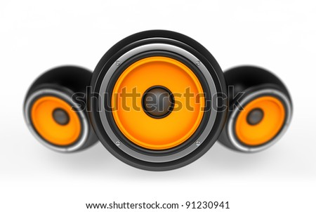 Speakers as ball isolated on white background