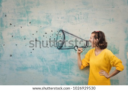 speaking loudly in the megaphone