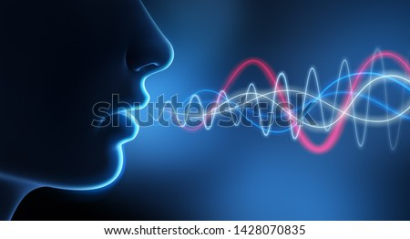 Speaking person with spectrogram - 3D illustration ストックフォト ©