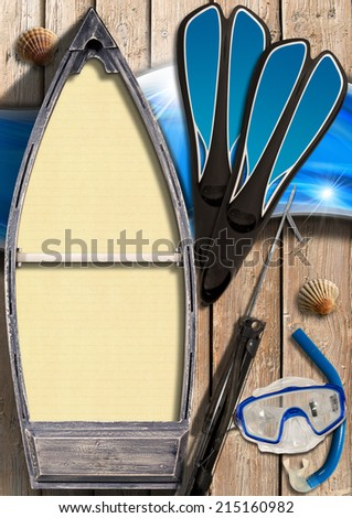 Spearfishing - Small Wooden Rowing Boat / Small wooden row boat with empty yellow paper inside on wooden wall with equipment for spearfishing, seashells and blue waves