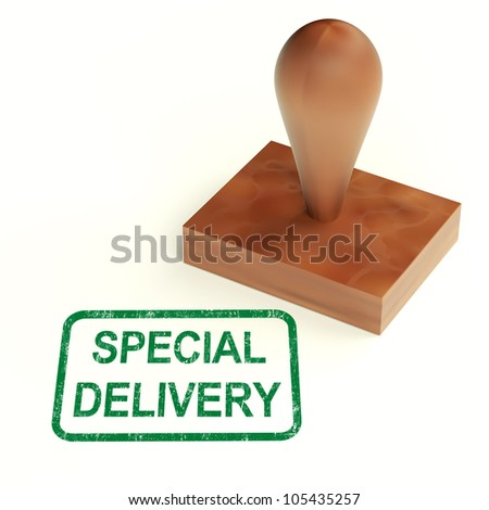 Special Delivery Stamp Showing Secure And Important Shipping