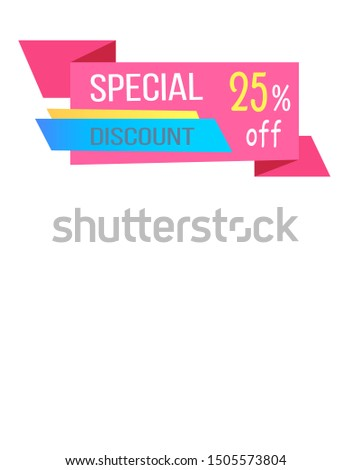 Special discount 25 off promo web poster with push buttons read more and buy now. raster illustration advertisement banner info about discounts