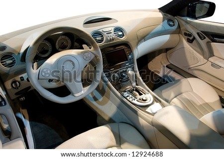 special edition interior luxury beige leather used in powerful sports car stock photo 12924688. Black Bedroom Furniture Sets. Home Design Ideas