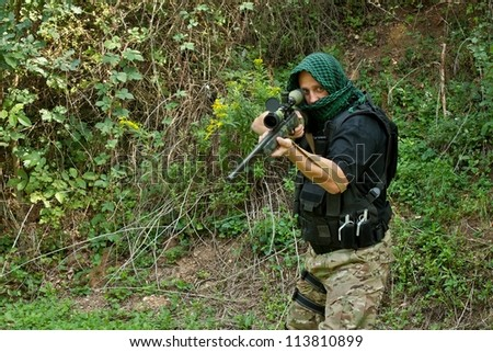 Special Forces soldier, armed terrorist