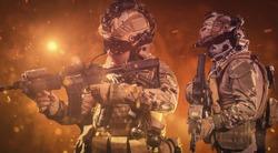 special forces soldier in battlefield . modern warfare. Battlefield wallpaper