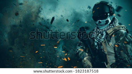Photo of  special forces soldier wearing ghost mask