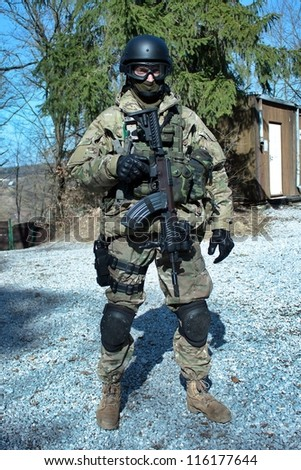 "Special Forces soldier with an assault rifle ""sa.58"""