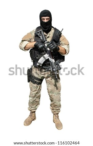 "Special Forces soldier with an assault rifle ""sa.58"" isolated on white"