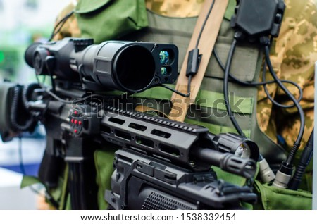 Special Forces Weapon. Assault rifle with sniper night sight.