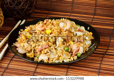 Special fried rice a popular oriental dish available at chinese take aways - stock photo