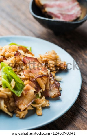 Special gourmet bacon, green pepper, fried bean