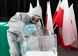 Special hygiene rules during the presidential election in Poland. Thorough disinfection of the entire polling station.