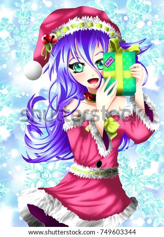 Stock Photo Special image for Christmas of alternative colors, kawaii anime version.