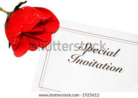 Special invitation with red rose (faux)