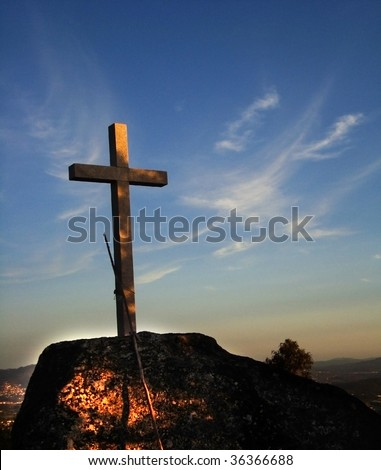 special light on sunrise over a cross