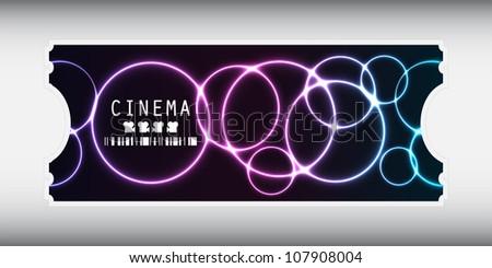 special movie ticket with plasma design - stock photo