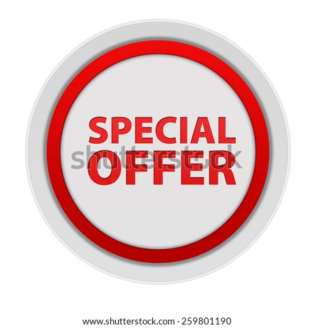 Special offer circular icon on white background