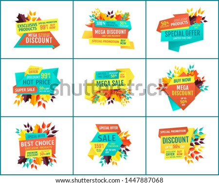 Special offer, discount and sale, hot price and premium quality promotional banners. Adverts for shop or store autumn season sell-out and bargain.