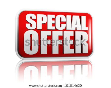 Special offer red banner with white letters