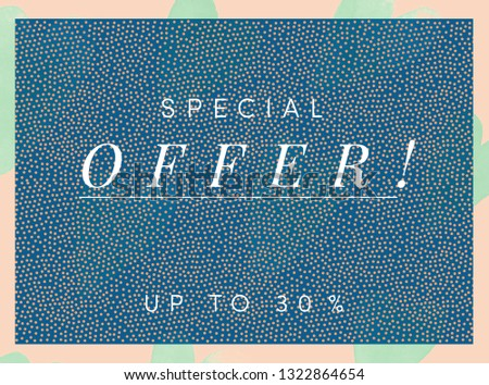 Special offer, sale or web banner. One of a set of matching designs. Stylish, fashionable blue color, with tiny cute polka dot background and contrasting neon color border in pink and mint. 30 % off.
