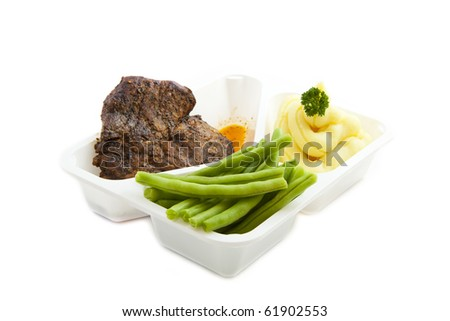 Special plate with vegetables meat and mashed potato