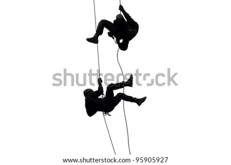 Special police force show tehnique landing with cable isolated on white background