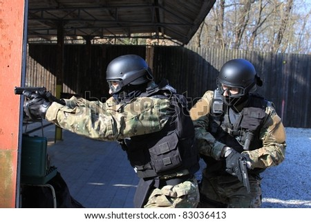 special police unit in training shooting