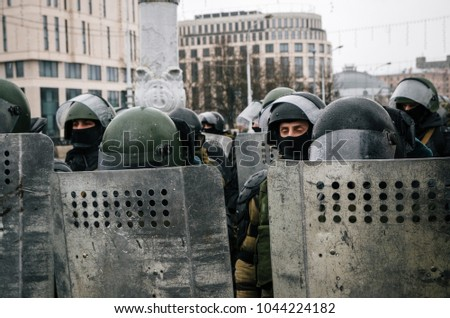 Special police unit with shields against protesters. Belarusian people participate in the protest against Lukashenko and the current authorities. Minsk, Belarus