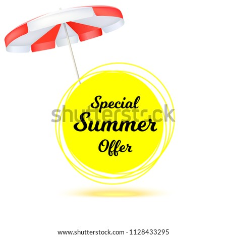 Special summer offer. Summer banner with sun umbrella. Hot offers on backdrop of sun. Seasonal shopping concept. Promotion template for online shopping retail business and advertising 3D illustration