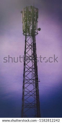 Special telecommunication tower for reception and transmission of telephone signal. This signal is in GSM format. #1182812242