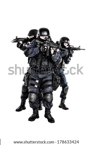 Special weapons and tactics SWAT team in action