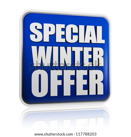 special winter offer 3d blue banner with white text, business concept