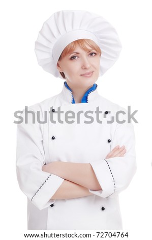 Specialist chef woman with crossed hands on white