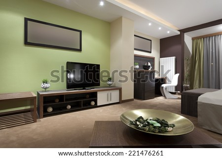 Specious hotel bedroom interior  in the evening #221476261