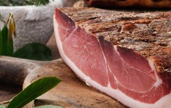 Speck, whole pork cutlet, close-up