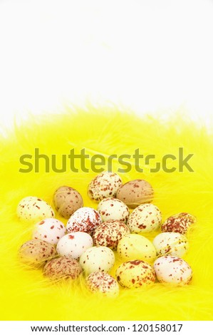 Speckled Eggs on Yellow Feathered Nest