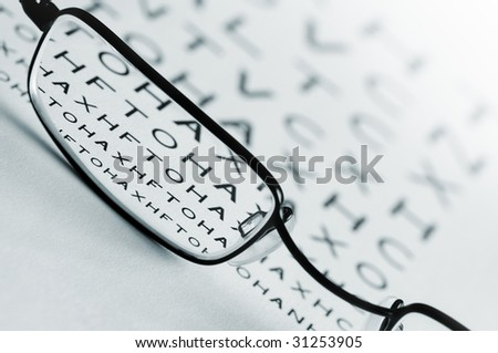 Spectacles bringing an eye test chart into focus.