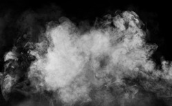 spectacular abstract white smoke isolated black background