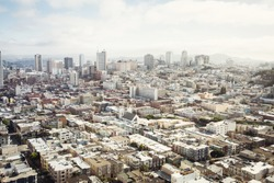 Spectacular aerial panorama of San Francisco city made from the top floor of Coit tower on sunny day, California