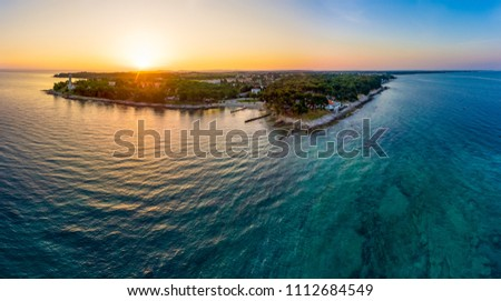 Spectacular aerial seascape panorama at sunrise.