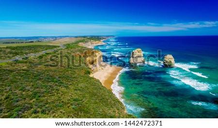Spectacular aerial view of Great Ocean Road Coastline, Australia. #1442472371