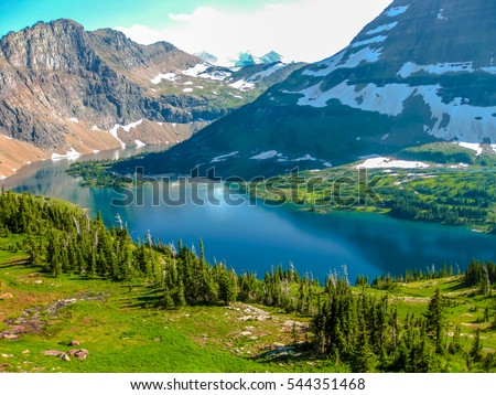 Spectacular aerial view of Hidden Lake Overlook in Glacier National Park, Montana, United States.