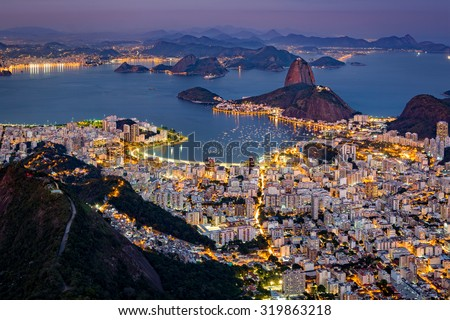 Shutterstock Spectacular aerial view over Rio de Janeiro as viewed from Corcovado. The famous Sugar Loaf peak sticks out of Guanabara Bay