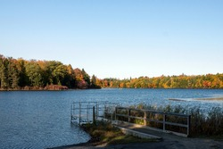 Spectacular Autumn Day on Lake at Promised Land State Park in Pennsylvania
