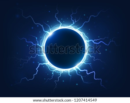 Spectacular electricity thunder shining spark and lightning surround blue electric ball. Power bright energy plasma sphere surrounded electrical lightnings storm isolated  background realism